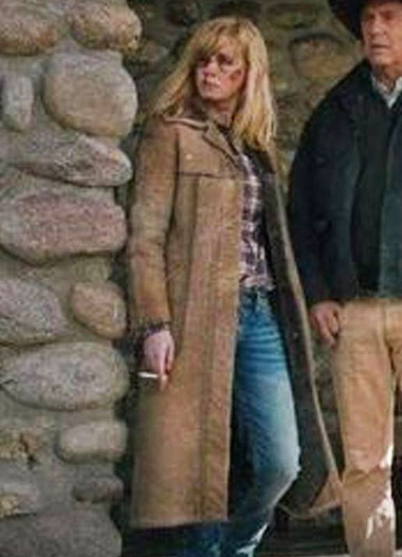 beth dutton yellowstone kelly reilly suede leather coat