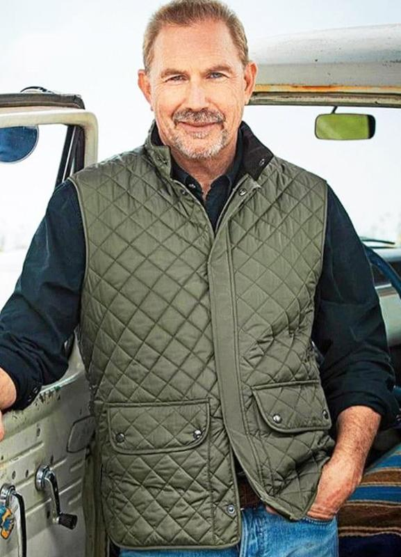 john dutton yellowstone kevin costner green quilted vest