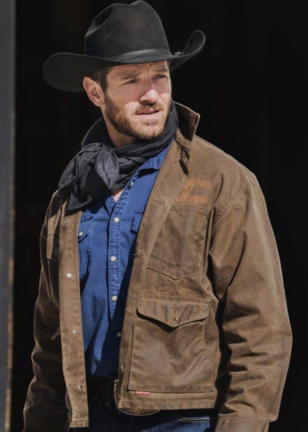 ryan yellowstone ian bohen brown leather jacket