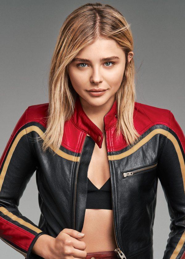 Chloe Grace Moretz Captain Marvel Leather Jacket