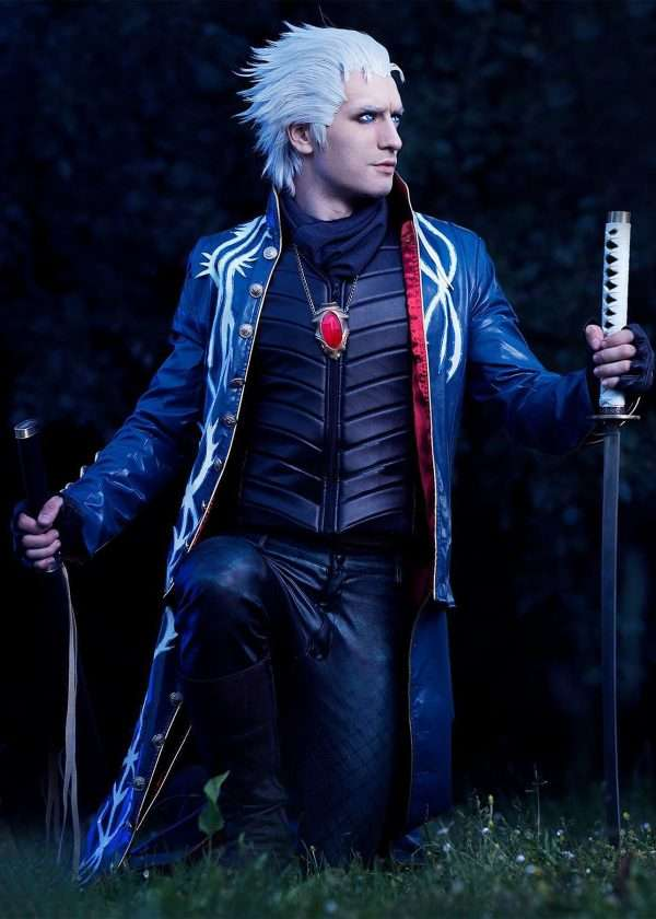 Vergil Devil May Cry Blue Leather Coat