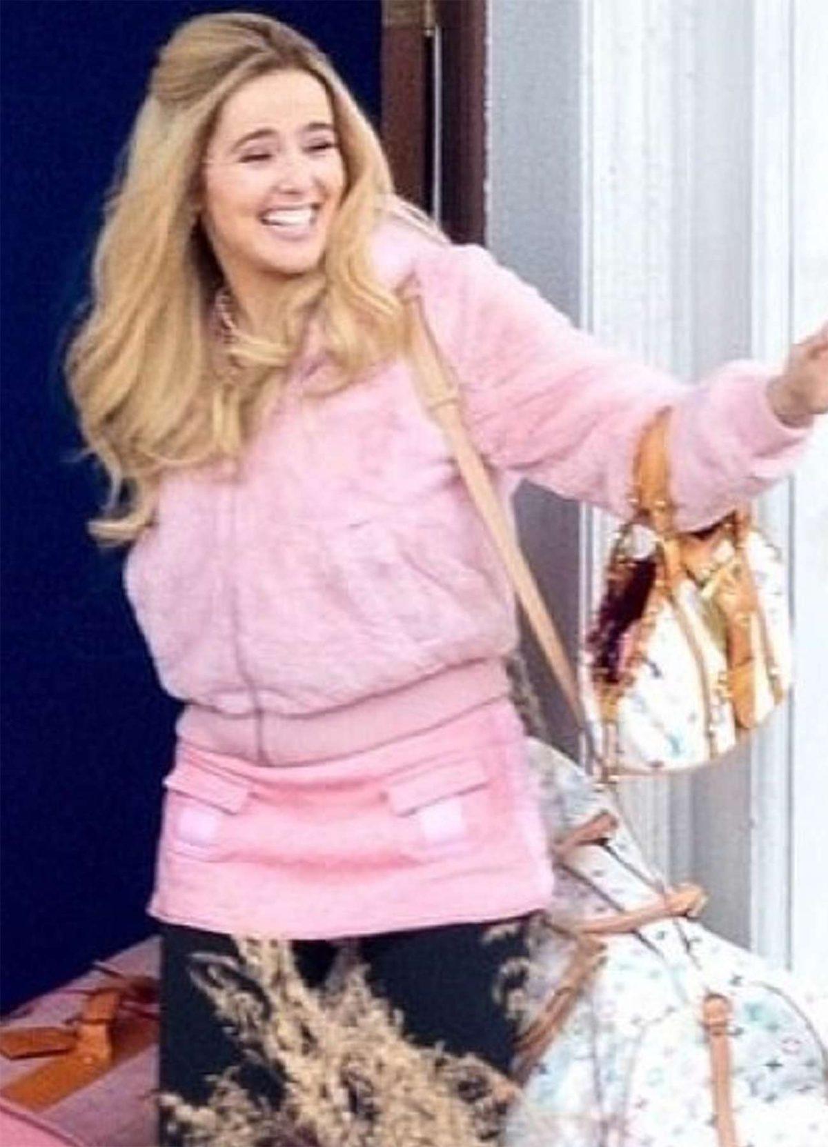Zoey Deutch Zombieland Pink Hoody Wool Jacket